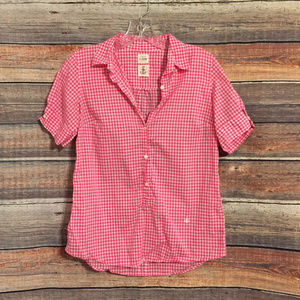 J.crew pink white gingham button down top